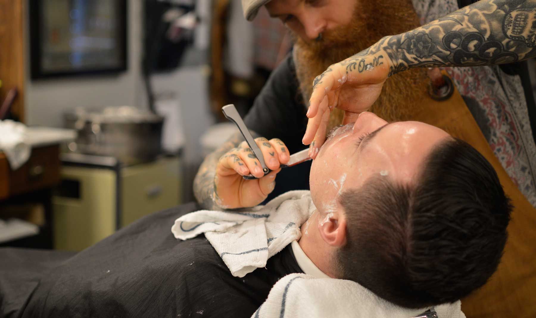 Chandler getting a close shave @ Barber Co., Vancouver, BC
