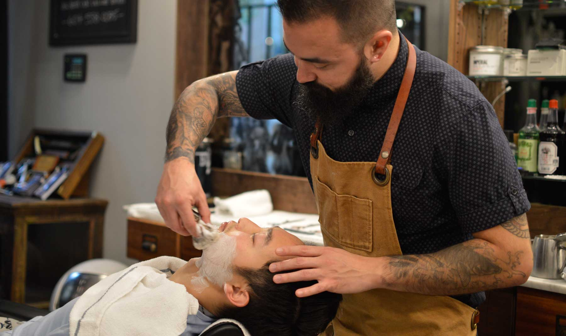 Lawrence getting a close shave @ Barber & Co., Vancouver, BC