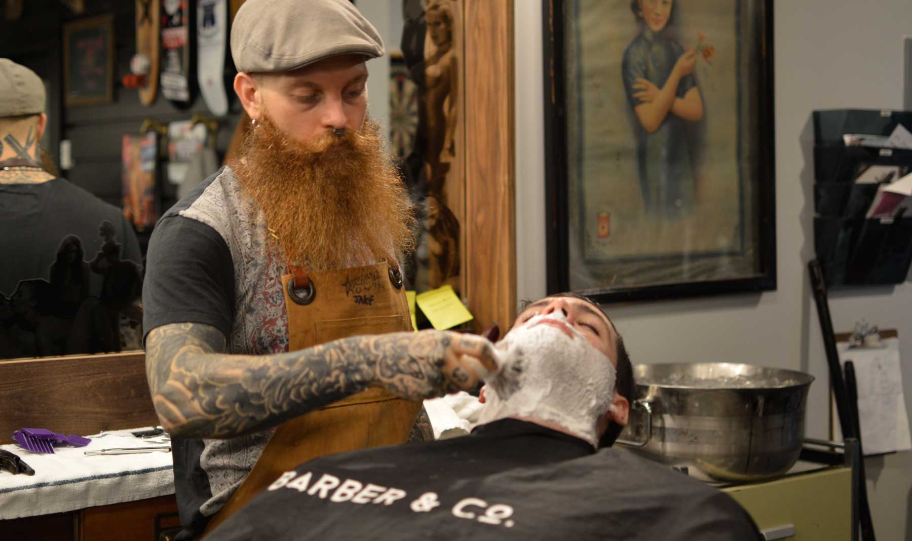 Chris getting a close shave @ Barber & Co., Vancouver, BC