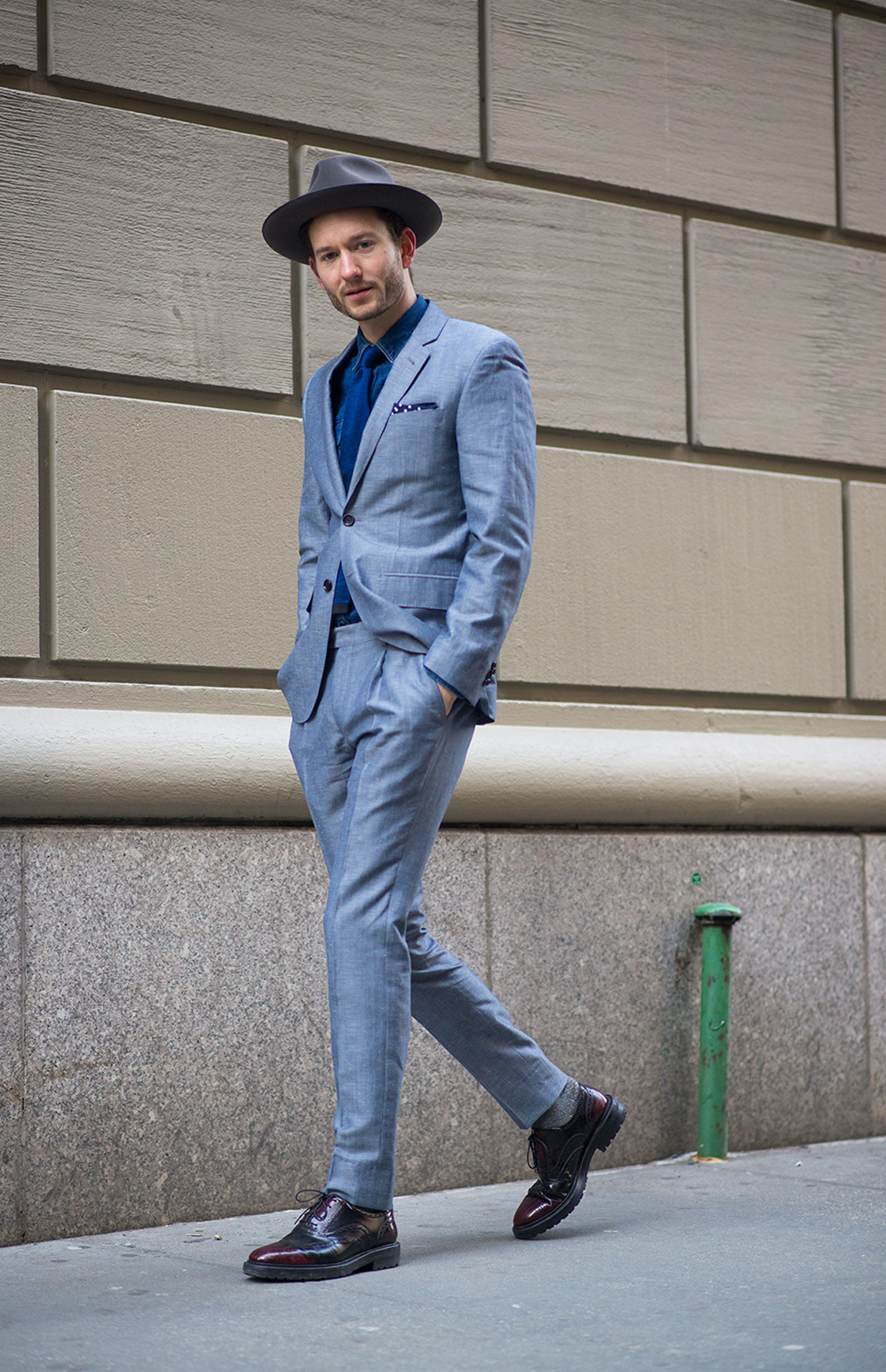 Menswear influencer Isaac Hindin-Miller in an Indochino custom suit.