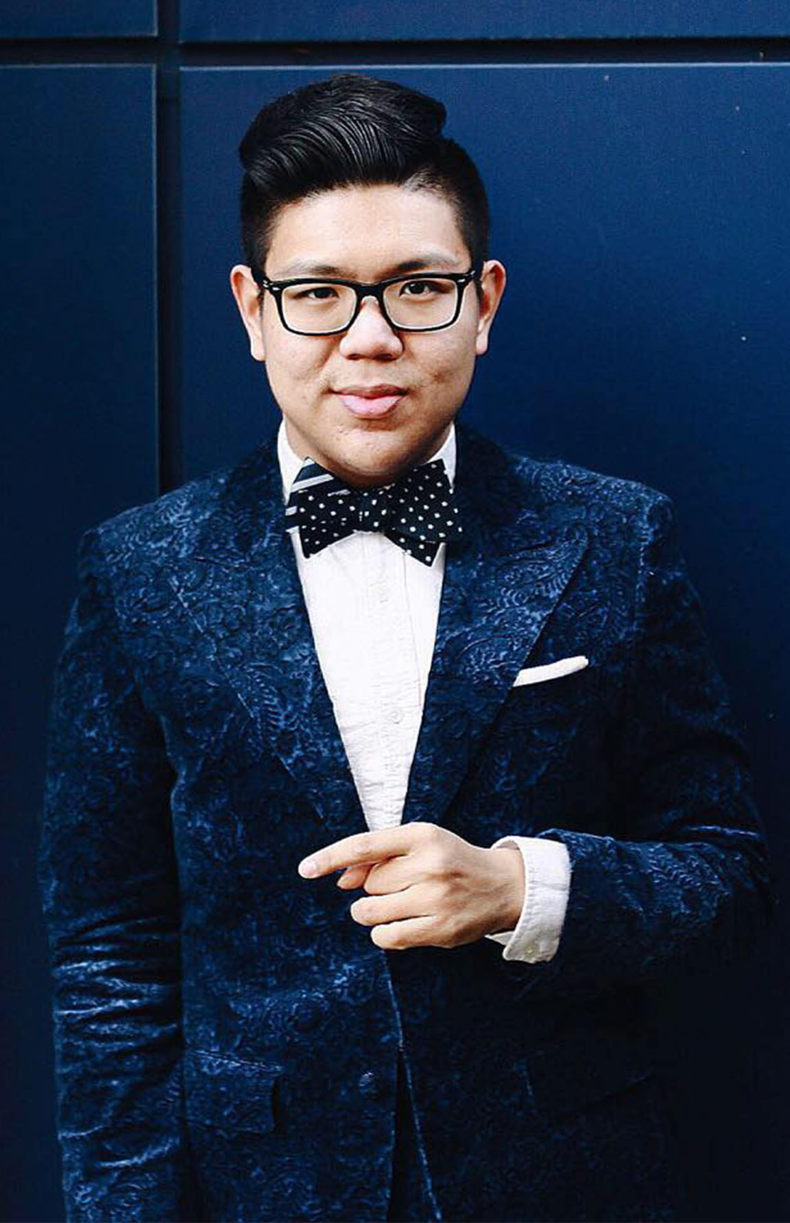 Our own Viranlly mixes and matches patterns and textures for a more unique bow tie look
