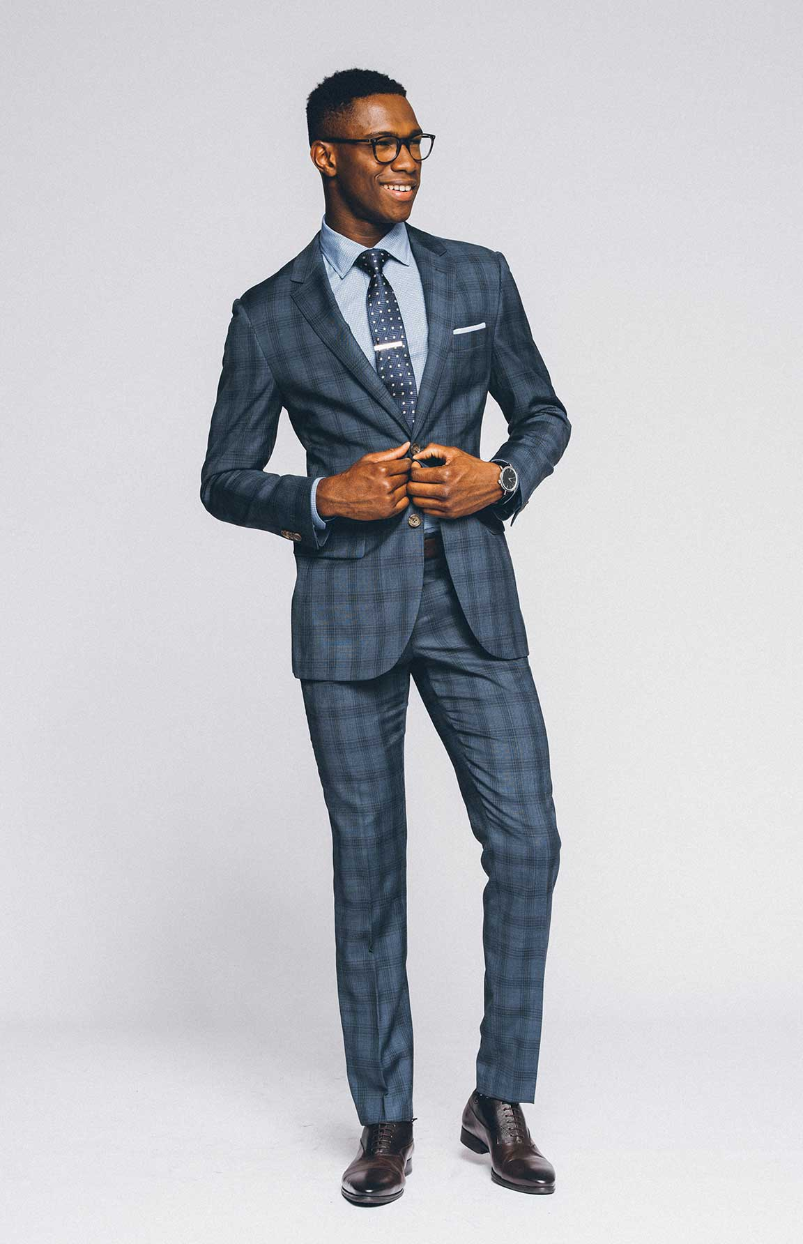 A bold yet tasteful pattern is an ideal power suit.